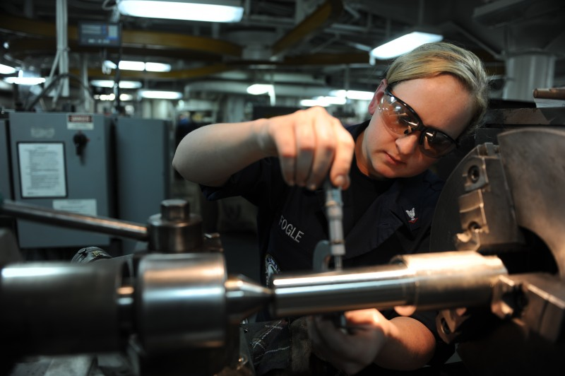 110406-N-OY799-152 PACIFIC OCEAN (April 6, 2011) Machinery Repairman 3rd Class Heather Fogle, from Midlothian, Texas, checks the outside diameter of a shear pin in the machinery repair shop aboard the Nimitz-class aircraft carrier USS John C. Stennis (CVN 74). John C. Stennis is returning to homeport in Bremerton, Wash. after completing carrier pilot qualifications for fleet replacement squadrons off the coast of Southern California. (U.S. Navy photo by Mass Communication Specialist 3rd Class Kenneth Abbate/Released)